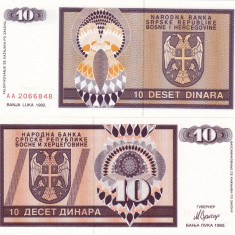 BOSNIA-HERTEGOVINA 10 dinara 1992 BANJA LUKA UNC!!!