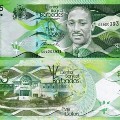 BARBADOS 5 dollars 2013 UNC!!! - bancnota america