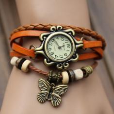 Ceas Dame Vintage Antic Butterfly Fluture Elegant Piele Naturala 7 Culori - Ceas dama, Casual, Quartz, Inox, Cronograf