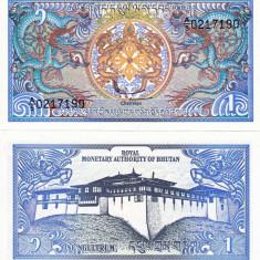 BHUTAN 1 ngultrum ND 1986 UNC!!! - bancnota asia