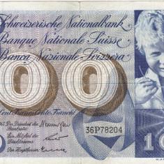 ELVETIA 100 francs 1963 VF!!! - bancnota europa