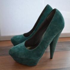 Pantofi ASOS dama, piele intoarsa naturala, turcoaz, nr. 38 - Pantof dama Asos, Cu toc
