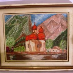 Tablou vechi pictat pe panza cu ulei cu rama din lemn cu biserica 30cm/24cm - Tablou autor neidentificat, Peisaje, Altul