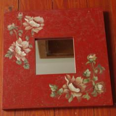 Oglinda cu rama din lemn - pictat manual - motiv floral !!!!