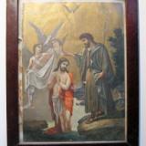 Icoana inramata imprimata anii 40 Scena biblica Botezul Domnului Isus semnata Tattarescu