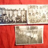 3 Fotografii mici 8, 5x5, 8 cm -Echipe de copii si tineret- Oina, hochei pe iarba
