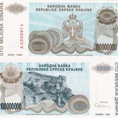CROATIA 100.000.000 dinara 1993 KNIN UNC!!! - bancnota europa