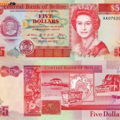 BELIZE 5 dollars 1990 UNC!!!