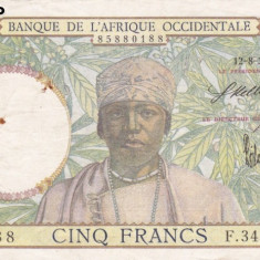 AFRIQUE OCCIDENTALE 5 francs 12-8-1937 VF!!!