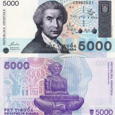 CROATIA 5.000 dinara 1992 UNC!!! - bancnota europa