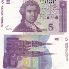 CROATIA 5 dinara 1991 UNC!!! - bancnota europa