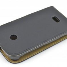 Husa Nokia Lumia 510 Flip Case Inchidere Magnetica Black - Husa Telefon Nokia, Negru, Piele Ecologica, Cu clapeta, Toc
