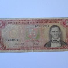 RARA! REPUBLICA DOMINICANA 5 PESOS ORO 1987