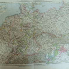 Harta color Imperiul German statele componente Leipzig 1899