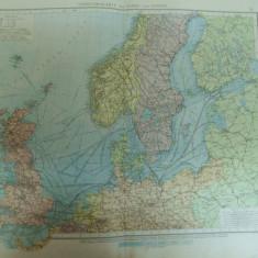 Harta color Traficul naval in Marea Nordului si Marea Baltica cu Norvegia Suedia Danemarca Finlanda Rusia Imperiul German Anglia Scotia Leipzig 1899