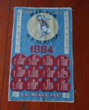 Calendar material textil 1984 perioada comunista intreprinderea Textila Slatina