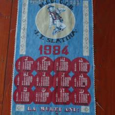 Vintage -- Calendar material textil ( panza )1984 - perioada comunista - intreprinderea Textila Slatina !!!