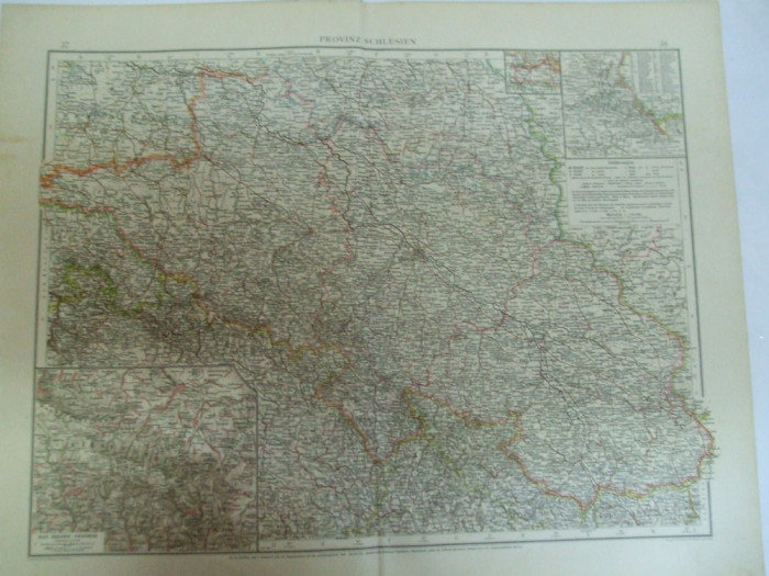 Harta Color Germania Silezia Schlezien Leipzig 1899 Okazii Ro