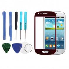 Sticla Display Fata Samsung Galaxy S3 MINI i8190 ROSU + folie ecran + kit scule