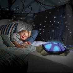 Lampa veghe copii Proiector de tavan broscuta testoasa cu stelute si muzica, Albastru