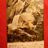 Ilustrata clasica Govora - Cascada Bistrita , circ. 1904 cu 5 Bani Spic de Grau