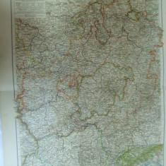 Harta color Germania Hessen - Nassau Marele Ducat Hessen si Principatul Waldeck Leipzig 1899
