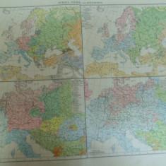 Harta color Europa Impartirea popoarelor si zonele religioase Europa 1899
