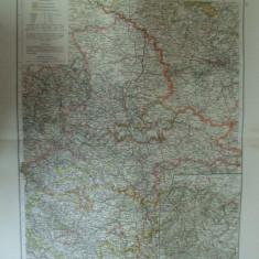Harta color Germania Provincia saxonilor si ducatul de oprire Provinz Sachsen und Herzogtum Anhalt Leipzig 1899