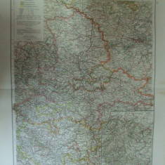 Harta color Germania Provincia saxonilor si ducatul de oprire Provinz Sachsen und Herzogtum Anhalt Leipzig 1899 - Harta Germaniei