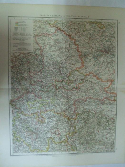 Harta Color Germania Provincia Saxonilor Si Ducatul De Oprire