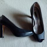 Pantofi PEEP TOE 36 PROGETTO piele negri REDUCERE, LICHIDARE CONT!! - Pantof dama Progetto, Culoare: Negru, Marime: 36.5, Cu toc