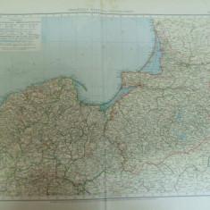 Harta color Prusia de Vest si de Est cuprinzand Germania Polonia Rusia Lituania Leipzig 1899 - Harta Germaniei
