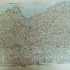 Harta color Germania Provinciile Brandenburg Pommern si Posen Leipzig 1899