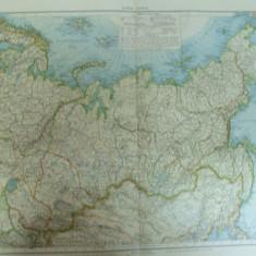 Harta color Asia de nord Rusia Kazahstan Uzbekistan Kirgistan Turkmenistan Tadjikistan  Leipzig 1899
