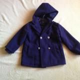 Geaca palton bleumarin baieti 3 ani Nou fara eticheta cu gluga, captusit cu polar