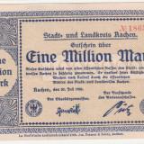(8) BANCNOTA (NOTGELD) - GERMANIA - AACHEN - 1.000.000 MARK 1923 (20 IULIE 1923), STARE FOARTE BUNA