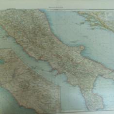Harta color Italia de mijloc Leipzig 1899 - Harta Italiei