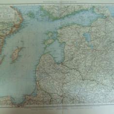Harta color  Rusia de vest partea nordica   Polonia Estonia Letonia Lituania  Leipzig 1899