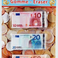 Set de 3 gume de sters in forma de bancnota Euro