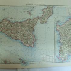 Harta color Sicilia si Sardinia    Leipzig 1899