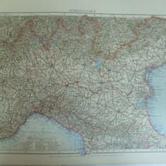 Harta color Italia de nord Leipzig 1899 - Harta Italiei