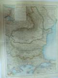 Harta color Romania Bulgaria   Leipzig 1899
