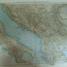 Harta color Tarile de jos ale Dunarii Bosnia Serbia Macedonia Albania Leipzig 1899