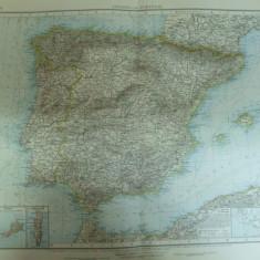 Harta color Spania si Portugalia   Leipzig 1899