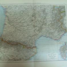 Harta color Franta jumatatea sudica   Leipzig 1899