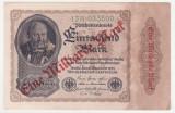(4) BANCNOTA GERMANIA - 1 MILLIARDE MARK 1922 (15 DECEMBRIE 1922), SUPRATIPAR, FILIGRAN CU SPIRALA, SERIE CU CIFRE MARI, STARE BUNA