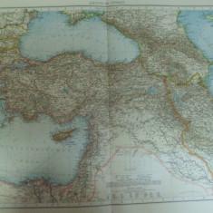 Harta color Turcia asiatica Siria Liban Israel Palestina Irak Iordania Caucaz Leipzig 1899