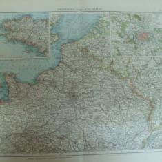 Harta color Franta jumatatea nordica Leipzig 1899 - Harta Frantei