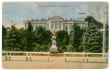 48 - Arges, PITESTI, Statue, Palatului Administrativ - old postcard - used, Circulata, Printata