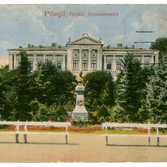 48 - Arges, PITESTI, Statue, Palatului Administrativ - old postcard - used - Carte Postala Muntenia 1904-1918, Circulata, Printata
